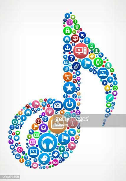 music note internet communication technology icon pattern - music symbols stock illustrations, clip art, cartoons, & icons