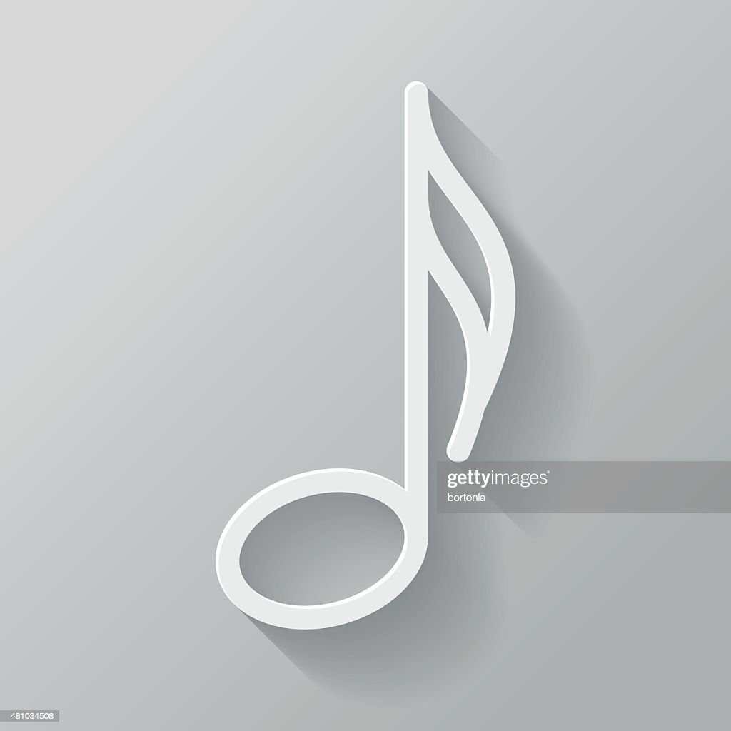 Music Note Paper Thin Line Interface Icon With Long Shadow