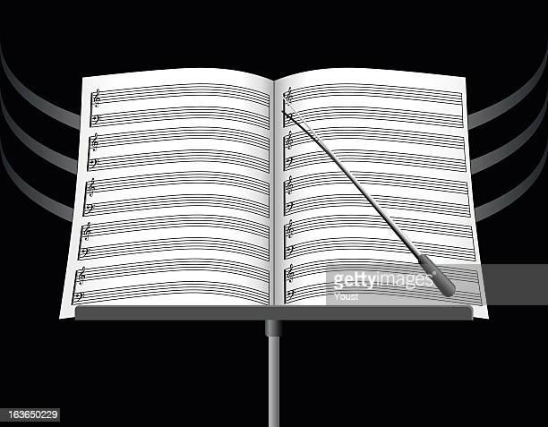 ilustraciones, imágenes clip art, dibujos animados e iconos de stock de la música nota hojas - director de orquesta