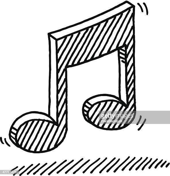 music note symbol drawing - music symbols stock illustrations, clip art, cartoons, & icons