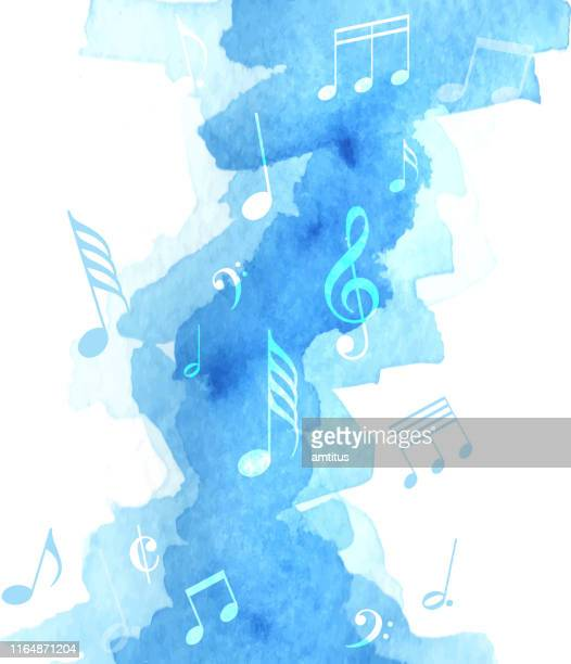 music note watercolor - music stock illustrations