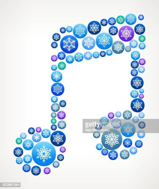 music note winter seasonal snowflake graphic pattern. - music symbols stock illustrations, clip art, cartoons, & icons