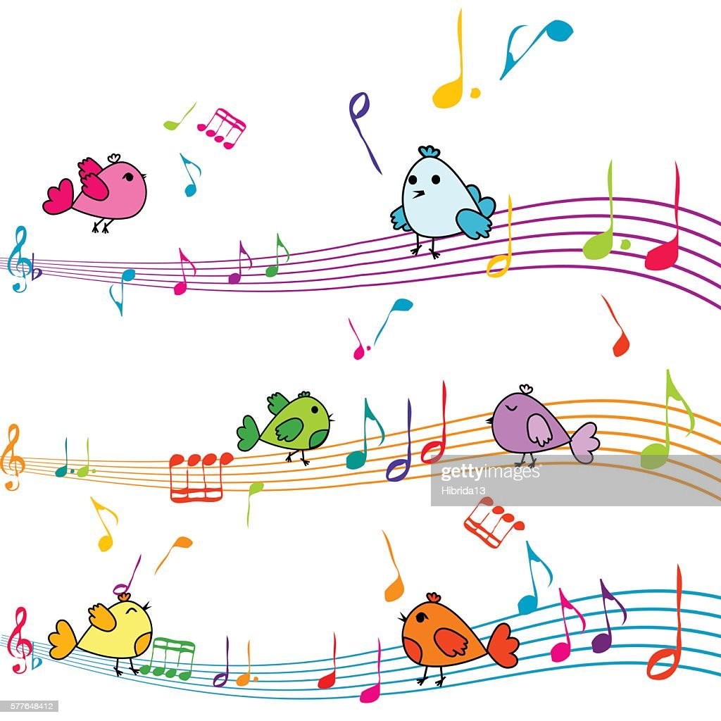 Music note with cartoon birds singing