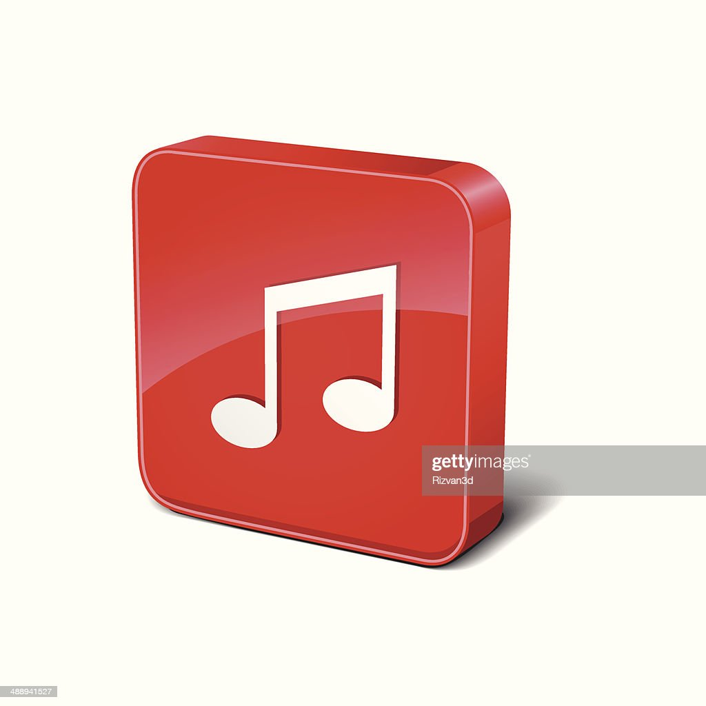 music notes 3d rounded square red vector button icon design vector rh gettyimages co uk Vector Person at Computer Computer Monitor Vector