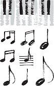 Music notes and piano keyboard