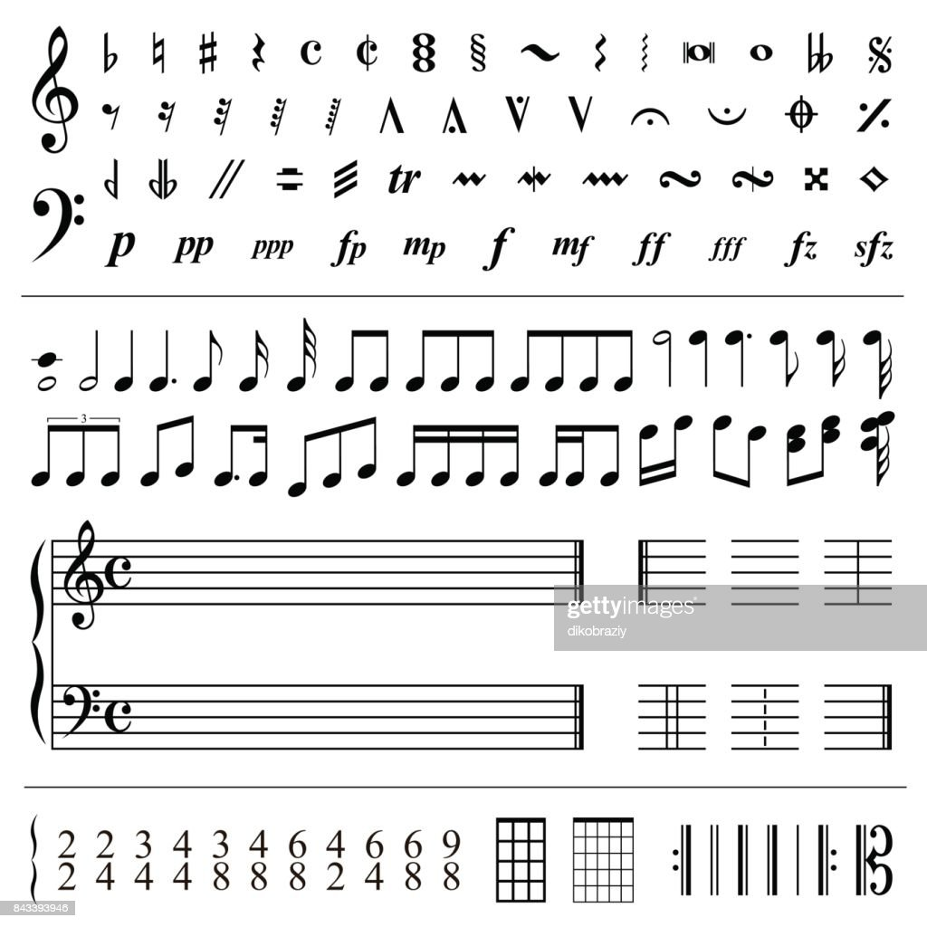 Music notes and symbols - vector illustration