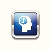 Music Notes Blue Vector Icon Button