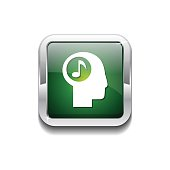 Music Notes Green Vector Icon Button