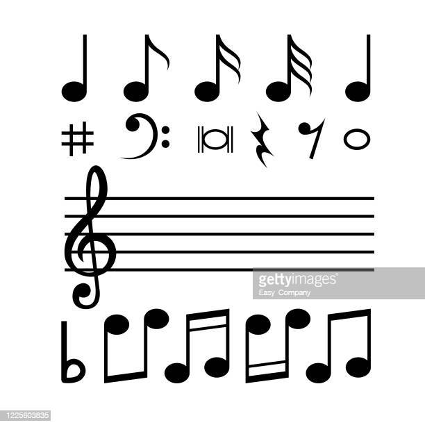 illustrazioni stock, clip art, cartoni animati e icone di tendenza di music notes in various formats in a white background for assembly or create teaching material for mothers who do homeschool and teachers who find pictures for teaching materials such as flashcards or children's books. - chiave di violino