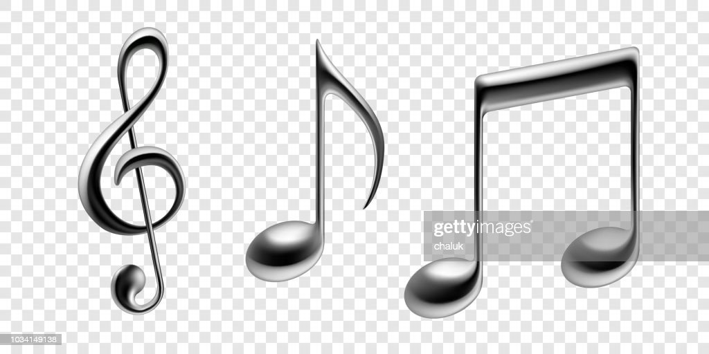 Music notes isolated icons. Vector realistic silver metallic note symbols of clef, bass or treble decorative background of tune quaver. Vector musical poster of note staff line for music school or orchestra concert banner design