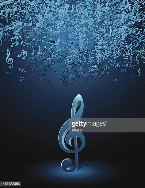 musik-noten auf spotlight - treble clef stock-grafiken, -clipart, -cartoons und -symbole