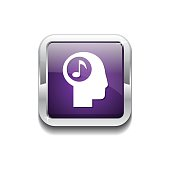 Music Notes Purple Vector Icon Button