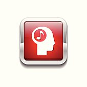 Music Notes Red Vector Icon Button