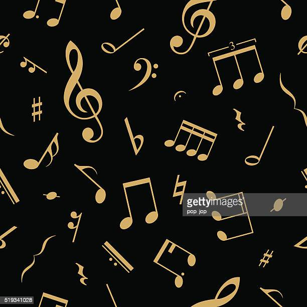 Music notes seamless abstract pattern background - vector illustration