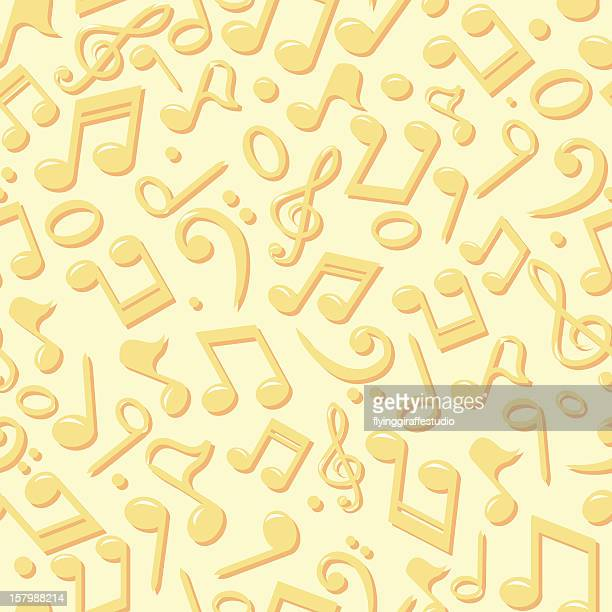 music notes seamless background - bass clef stock illustrations, clip art, cartoons, & icons