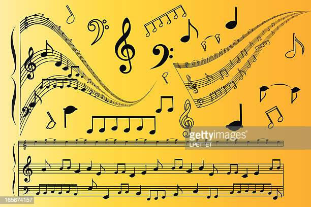 music notes - bass clef stock illustrations, clip art, cartoons, & icons