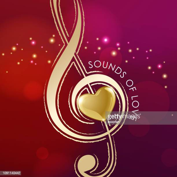 music of love - treble clef stock illustrations, clip art, cartoons, & icons