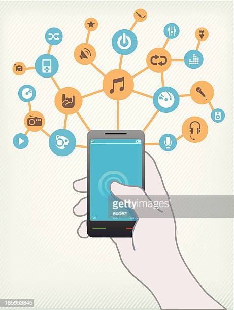 ilustrações, clipart, desenhos animados e ícones de música no smartphone - misturando
