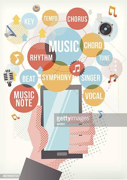 music on smartphone - music symbols stock illustrations, clip art, cartoons, & icons