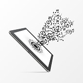 Music On Tablet with notes. Vector illustration