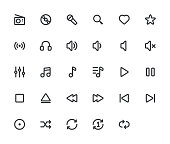Music outline vector icons