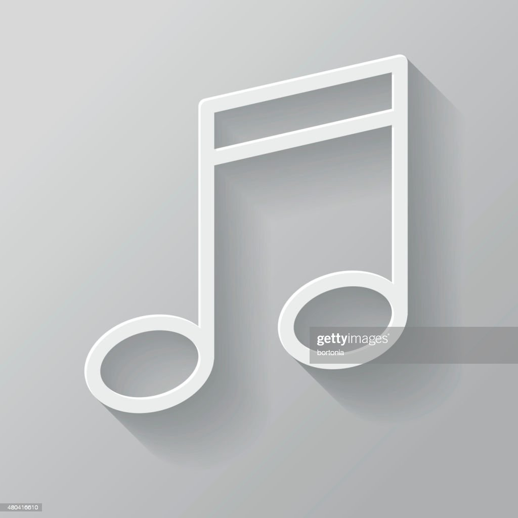 Music Paper Thin Line Interface Icon With Long Shadow