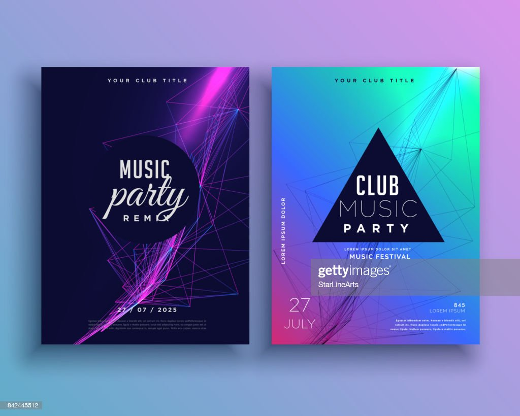 music party invitation poster template set