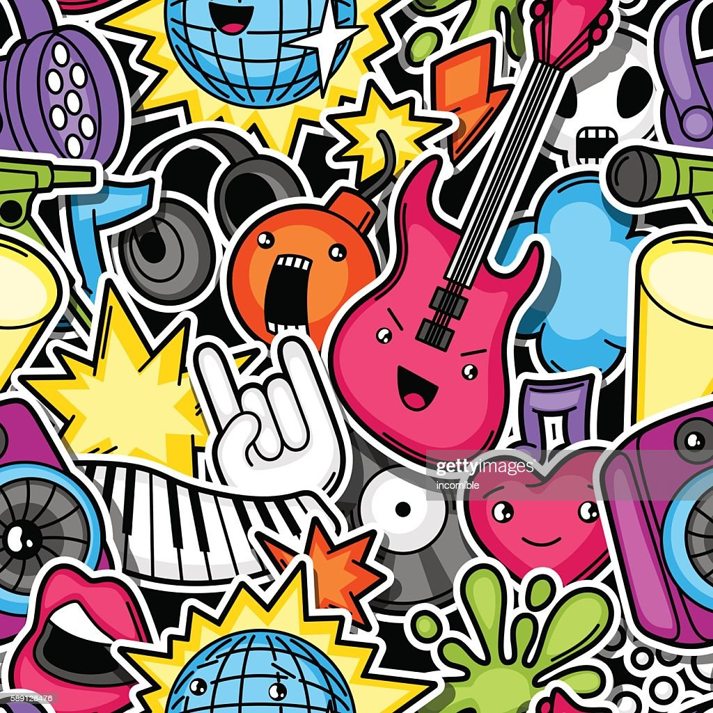 Music Party Kawaii Seamless Pattern Musical Instruments Symbols And