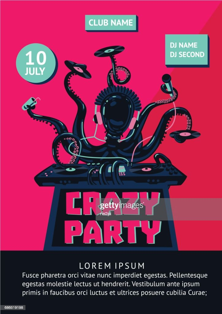 Music party poster with octopus dj and mixing console.