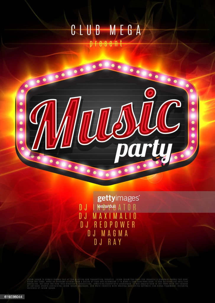 Music party vector poster with a light frame on the