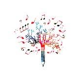 Music pencil tree design