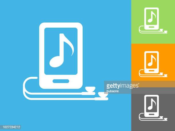 Music Player and Headphones Flat Icon on Blue Background