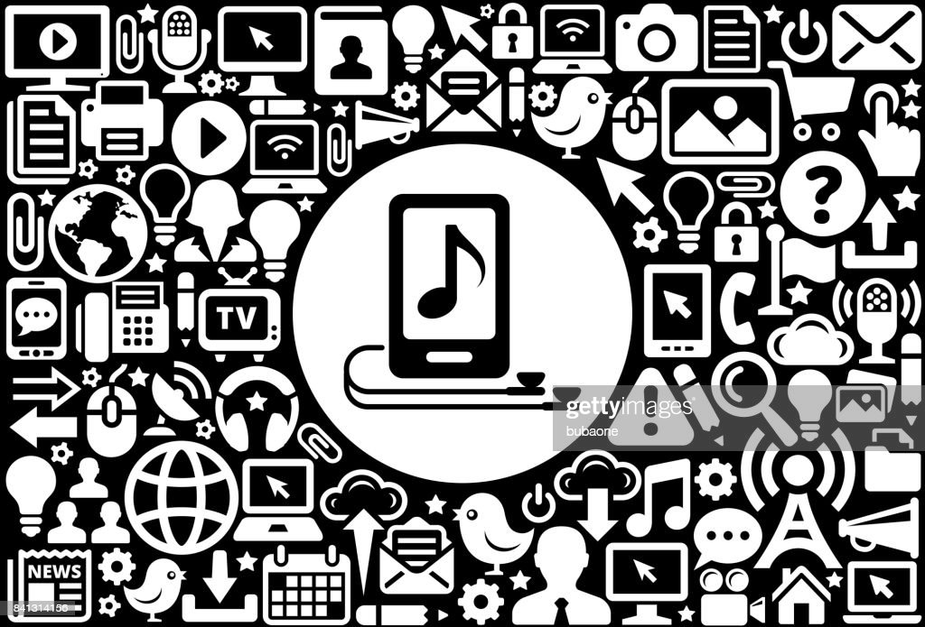 Music Player and Headphones Icon Black and White Internet Technology Background