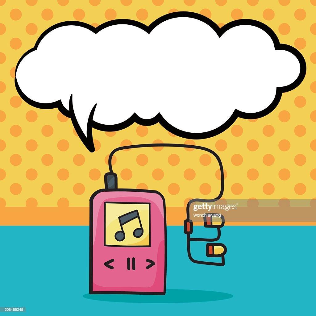 music player doodle, speech bubble