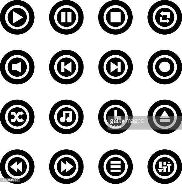 Music Player Icon - Black Circle Series