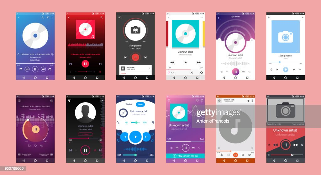 Music Player Interface,Music Player on Mobile Phone, Music Player Big Set of 12 Vector Icon
