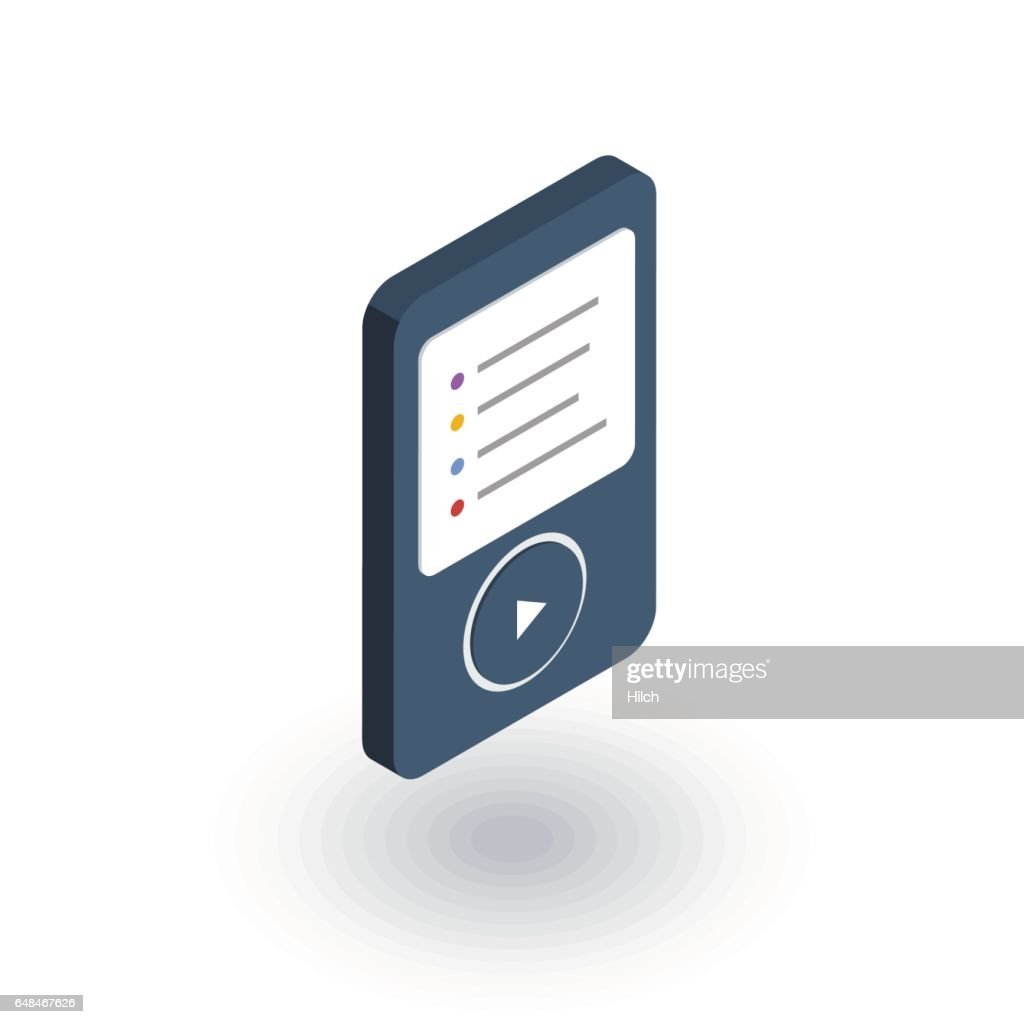 MP3, music player isometric flat icon. 3d vector