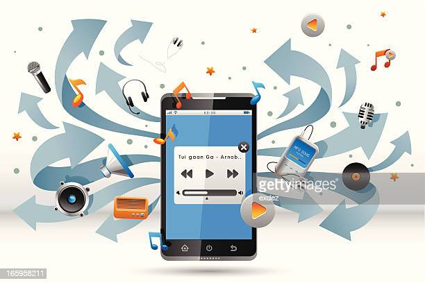 music player on smart phone - audio equipment stock illustrations, clip art, cartoons, & icons
