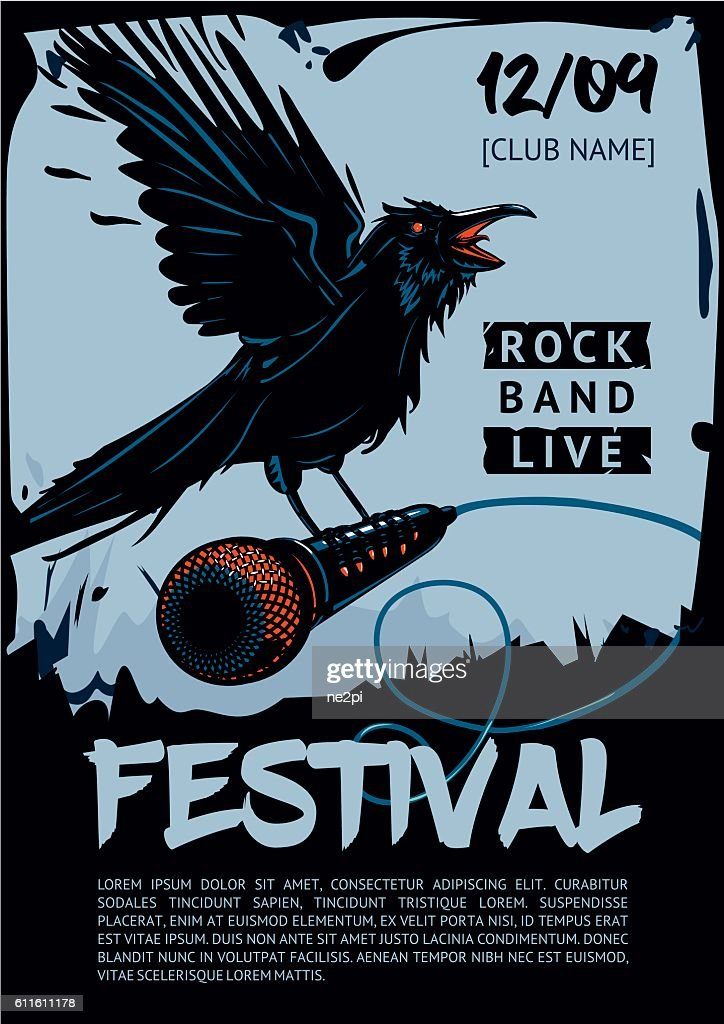 Music poster template for rock concert. Raven is holding microphone.