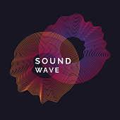 Music poster. Vector abstract background with a colored dynamic waves