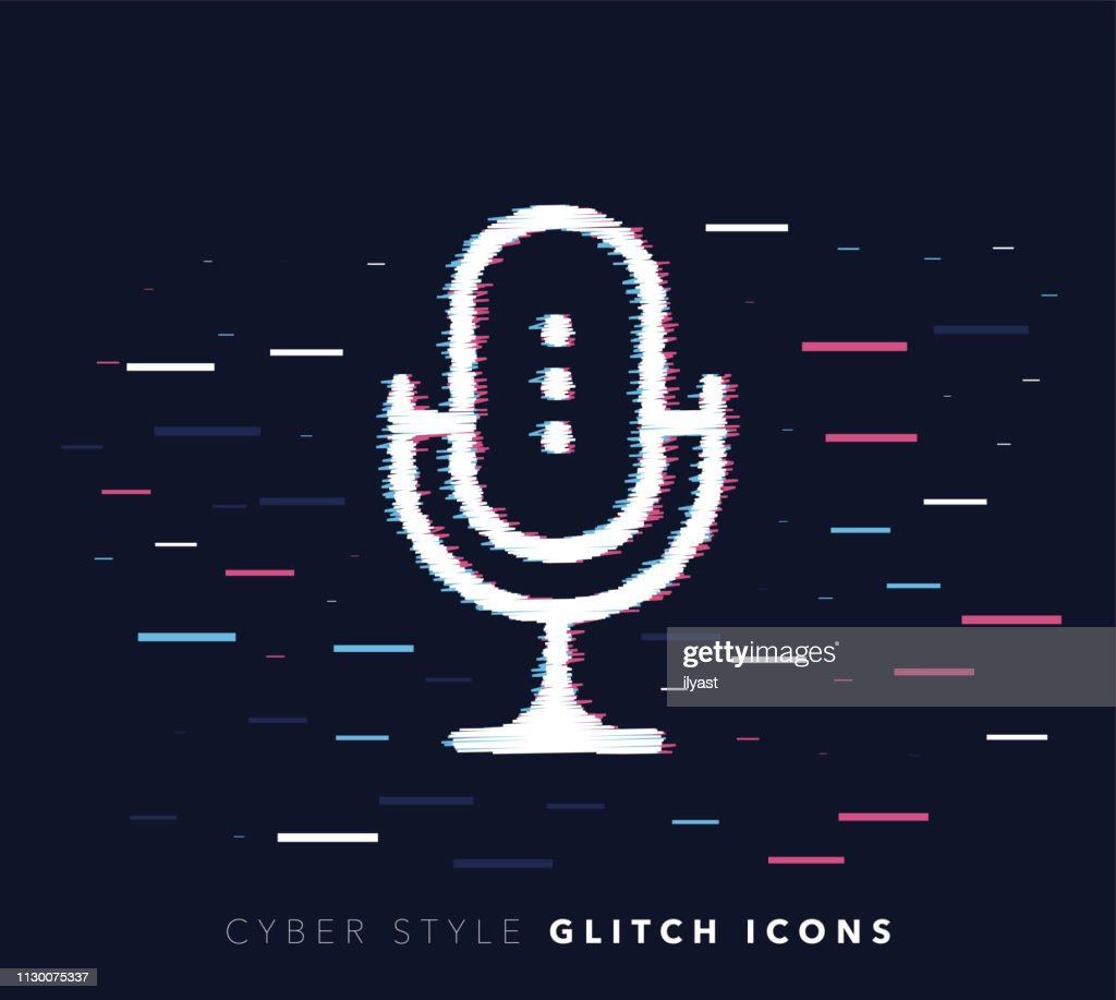 Music Recording Software Glitch Effect Vector Icon Illustration : stock illustration