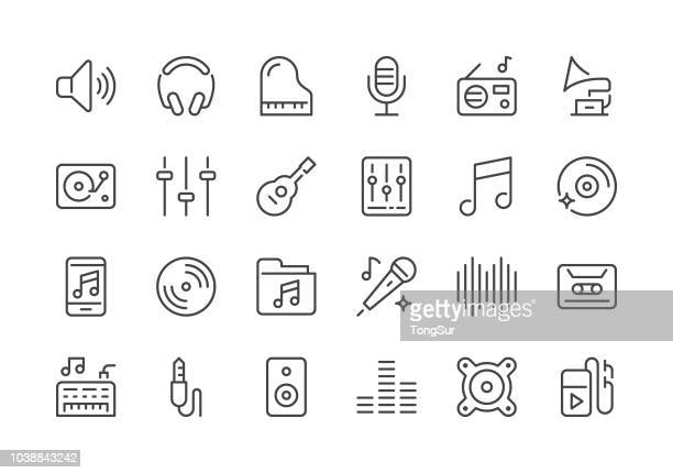 music - regular line icons - microphone stock illustrations