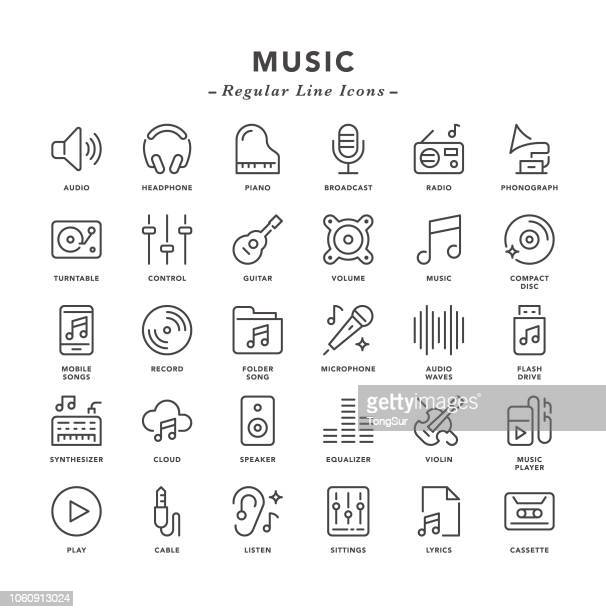 music - regular line icons - radio stock illustrations