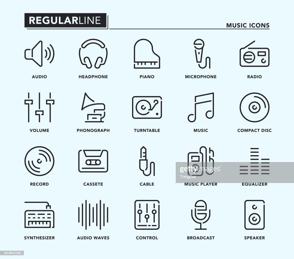 Music Regular Line Icons