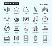 Music Regular Line Icons