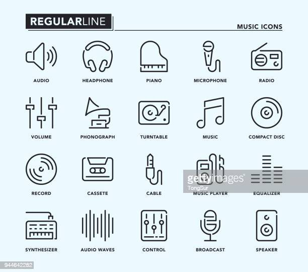 music regular line icons - classical stock illustrations