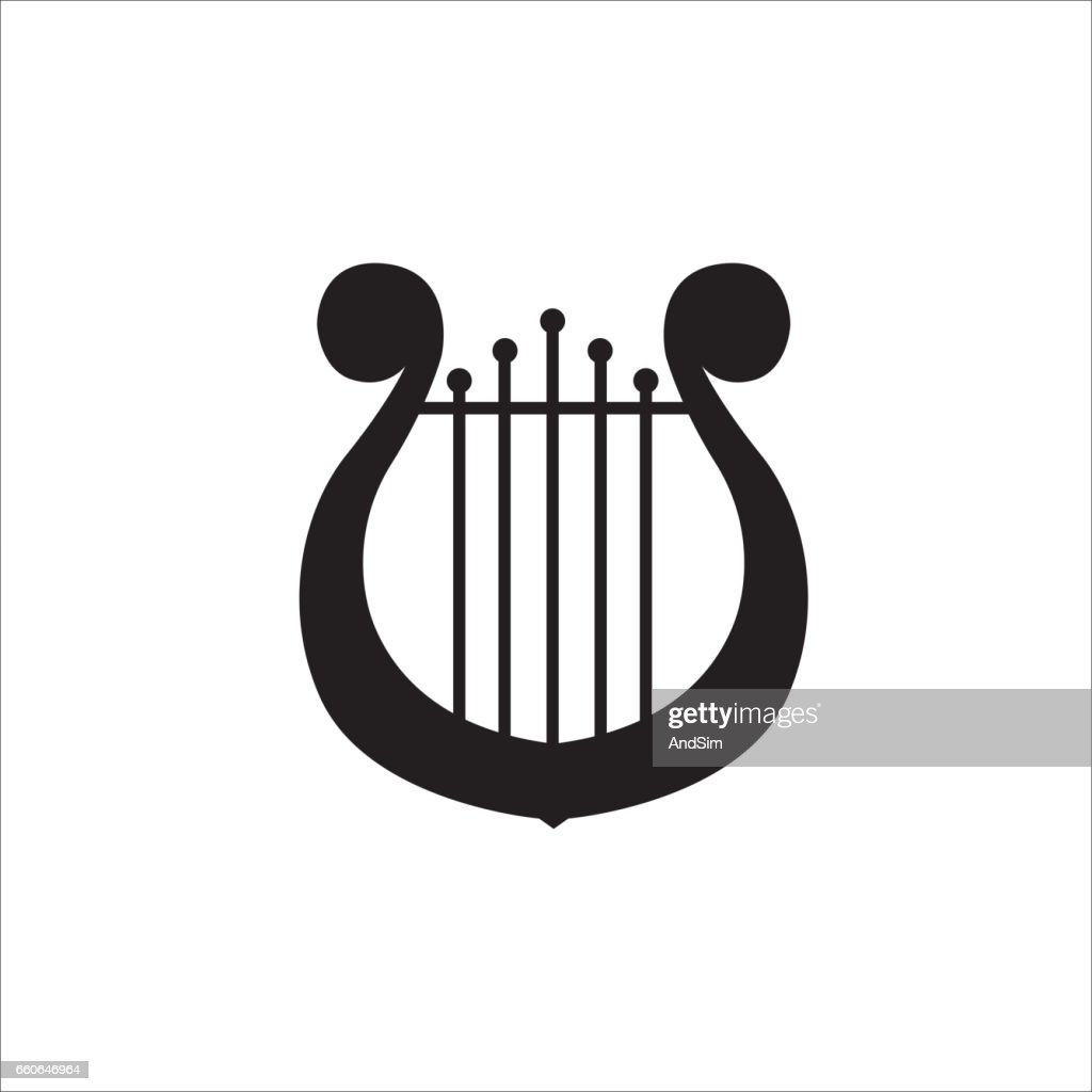 Music school symbol. Lyre or cither icon.