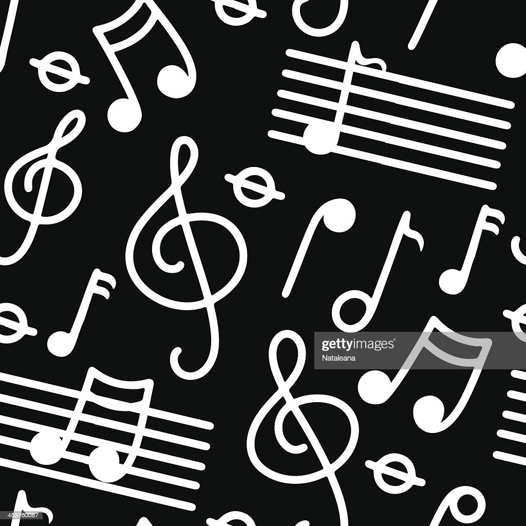 Music seamless pattern in black and white