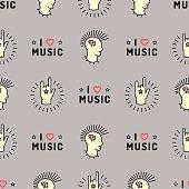 Music seamless pattern Punk Mohawk Rock Grunge style