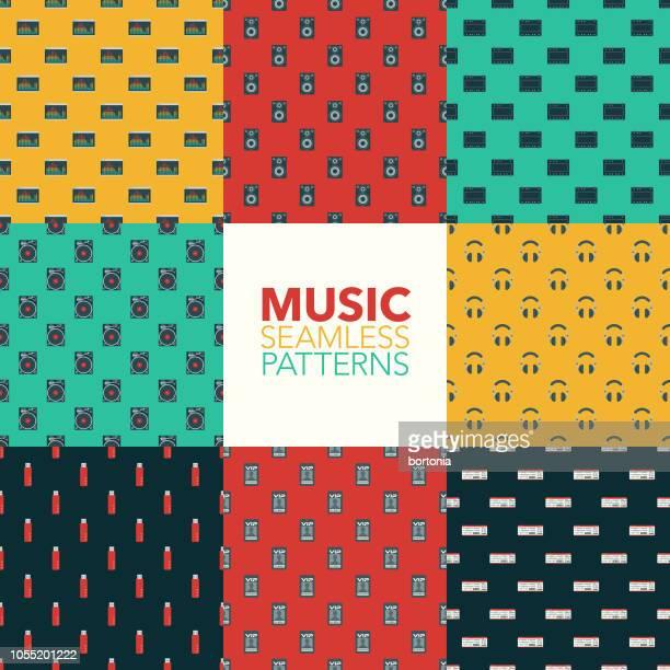 music seamless pattern set - electronic music stock illustrations